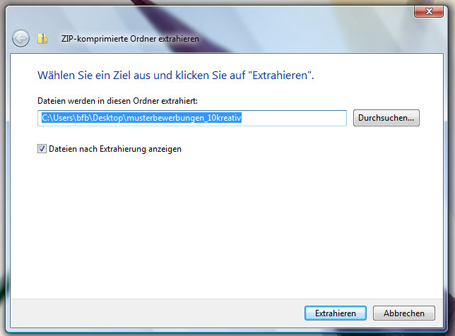 ZIP File entpacken